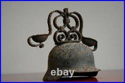 RARE 14 WW2 German Helmet Trench Art Candle stick holder 1943