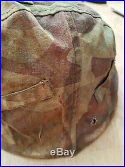 Rare German Elite helmet cover in italian camo battle front 100% original ww2