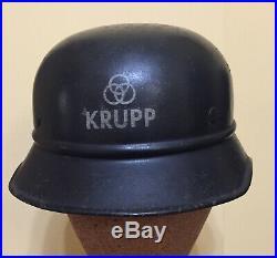 Rare Original WW2 German KRUPP Armaments Factory Police Guard Helmet