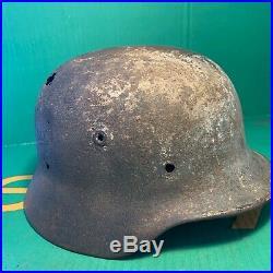 Rare WW2 German M40 Luftwaffe Camo White Washed Relic Helmet Omaha Beach