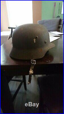 Rare WW2 German M40 helmet Normandy beach insured shipping. Excellent condition