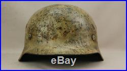 Rare Ww2 German M40 Winter Camo Helmet, Fully Complete