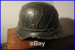 Repro WW2 German m42 Steel helmet with Camouflage wire mesh basket