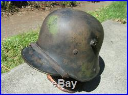 Stamped M16 German Camo Helmet with Liner Chinstrap WW1 WW2 Badge Medal Pin Hat