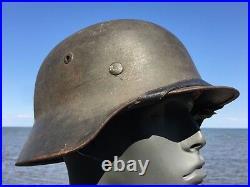 UNTOUCHED Original WW2 M-35 German Helmet 1938 Liner NS 66 Stamp In Crown WWII