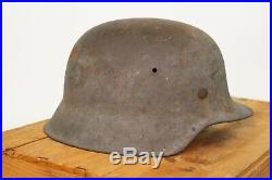VINTAGE ORIGINAL WW2 GERMAN HELMET / LINER M42 WWll COMBAT STEEL
