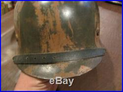 VINTAGE ORIGINAL WWII WW2 GERMAN M42 s66 CAMO COMBAT HELMET w LINER & CHIN STRAP