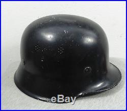 VINTAGE WW2 GERMAN FIRE POLICE M34 ALUMINUM HELMET wh LINER INSIDE WWII
