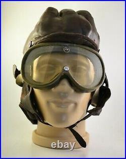 VTG WW2 WWII GERMAN REAL NAPPA MOTORCYCLE RIDER LEATHER HELMET with glasses