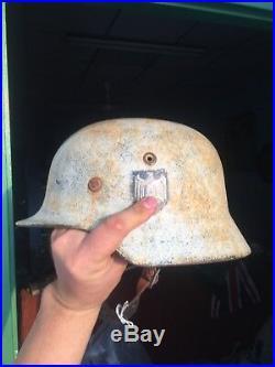 Very Beautiful W-Camo Rare Massive Quality German WW2 M-35 Helmet Mark NS64 B3