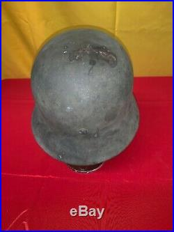 Vintage Ww2 German M35 Helmet Chinstrap Sd Heer Single Decal Is Washed Out 32e