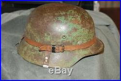 WORLD WAR 2 GERMAN COMBAT HELMET with Leather Camo Strap and Breadbasket strap
