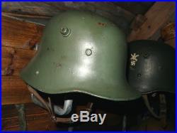 WW1 German M17 Stahlhem Used By Finnish Army During WW2 Steel Helmet Casque Finn