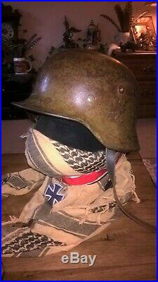 WW2 AUTHENTIC M40 GERMAN HELMET WithGOGGLES, LINER AND COVER