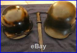 WW2 GERMAN HELMETS, 7 bayonets & belt buckle. $799 including shipping