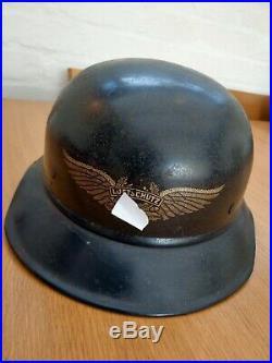 WW2 GERMAN Original Luftschutz GLADIATOR helmet, fine example great decal