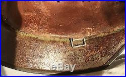 WW2 German Helmet 3 stamps on leather & 2 on Metal WWII original RARE No Decals
