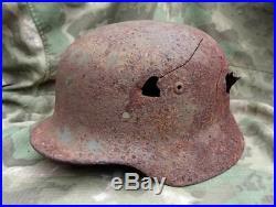 WW2 German Helmet M35 66 Combat bullet damage Original Wehrmacht Dug relic