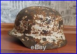 WW2 German Helmet M35 in winter camo coat Wehrmacht Stahlhelm Original Equipment