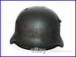 WW2 German Helmet M40 Size 64 with Dog Tag & Gas Mask Canister. World War II
