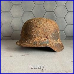 WW2 German Helmet M40 in winter camo coat Wehrmacht Stahlhelm Original Equipment