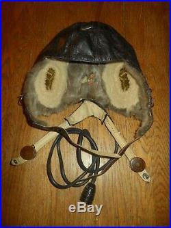 WW2 German LKpW101 Fliegerkopfhaube Winter FUR Flight Helmet #2 VERY NICE