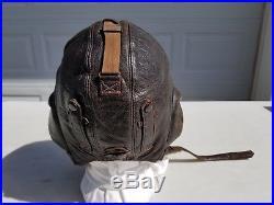 WW2 German Leather Winter Flight Helmet US Size 7 LKp W 101 Modified MFG Siemens