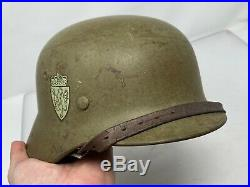 WW2 German M35 DD Luftwaffe Helmet 1937 Chinstrap Norway Reissue Excellent Q68