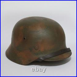 WW2 German M35 camo helmet complete with liner and chinstrap extra large size