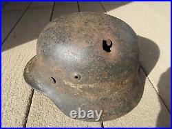 WW2 German M40 Helmet SE64 shell with sz 56 Liner Frag Damage x 6 partial ins name