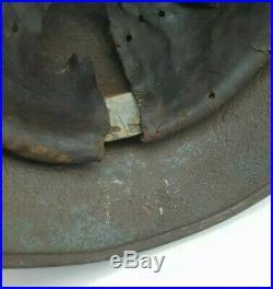 WW2 German M40 Normandy Camo Helmet + Liner & Chinstrap Battle Damaged KIA NAMED