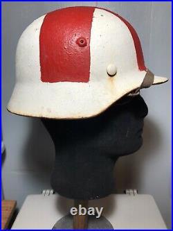 WW2 German Medic Helmet Rare Original M-35 Wartime Conversion From SS Or Police