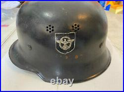 WW2 German/Nazi Double Decal Helmet M34 Square Dip Feuerwehr Read Carefully