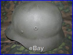 WW2 German Orignal M1940 Helmet shell SE64 Repainted Withrepro 57 Liner/Chinstrap