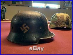 WW2 German Police First Issue Helmet With 2 Decals With Liner DRP Thale Stamped