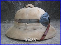 WW2 German Tropical Pith helmet + Goggles with pouch AFRIKA KORPS DAK Rommel