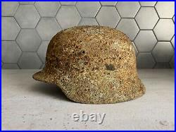 WW2 German Wehrmacht Helmet M35 with Liner Original Double Camo Real Dug Relic