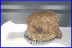 WW2 German White Camo Helmet Battle Of Bulge Souvenired Size 68 Mfg SE