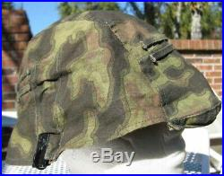 WW2 German camouflage reversible clip-on HELMET COVER w foliage loops for leaves