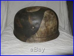 WW2 German helmet paratrooper in rare camouflage. Complete set. Original
