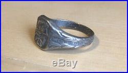 WW2 Iron Cross German Helmet Silver Ring