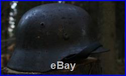 WW2 M35 ET 62 German Combat Helmet Original with original liner