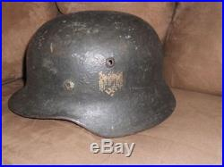 WW2 M35 German helmet textured camo with partial decal and liner basement fresh