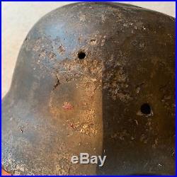 WW2 M35 Normandy Barn Find German Helmet DD Army with Paint blast damage