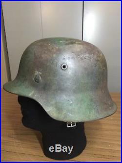 WW2 M42 German Two Tone Camo Combat Helmet Untouched Original
