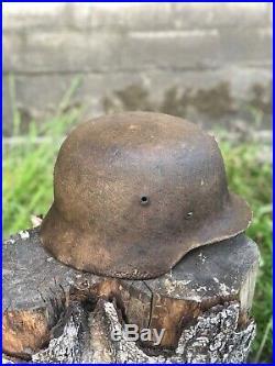 WW2 Original German Helmet M40, Battle Damage, Shooted, From Battle Of Kurland