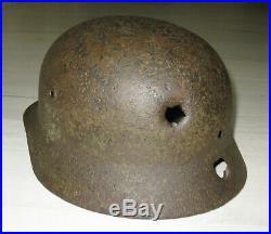 WW2 Original German Helmet M40 CAMO Size 64 STAHLHELM with Bullet Holes