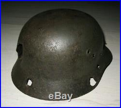 WW2 Original German Helmet M40 Size 62 STAHLHELM with Bullet Holes