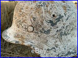 WW2 Original German helmet M42 66 Winter Camo
