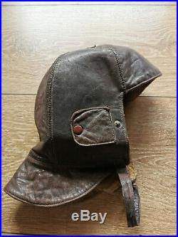 WW2 Pilot Hat Flying German Luftwaffe Leather Helmet Aviator Vintage Original